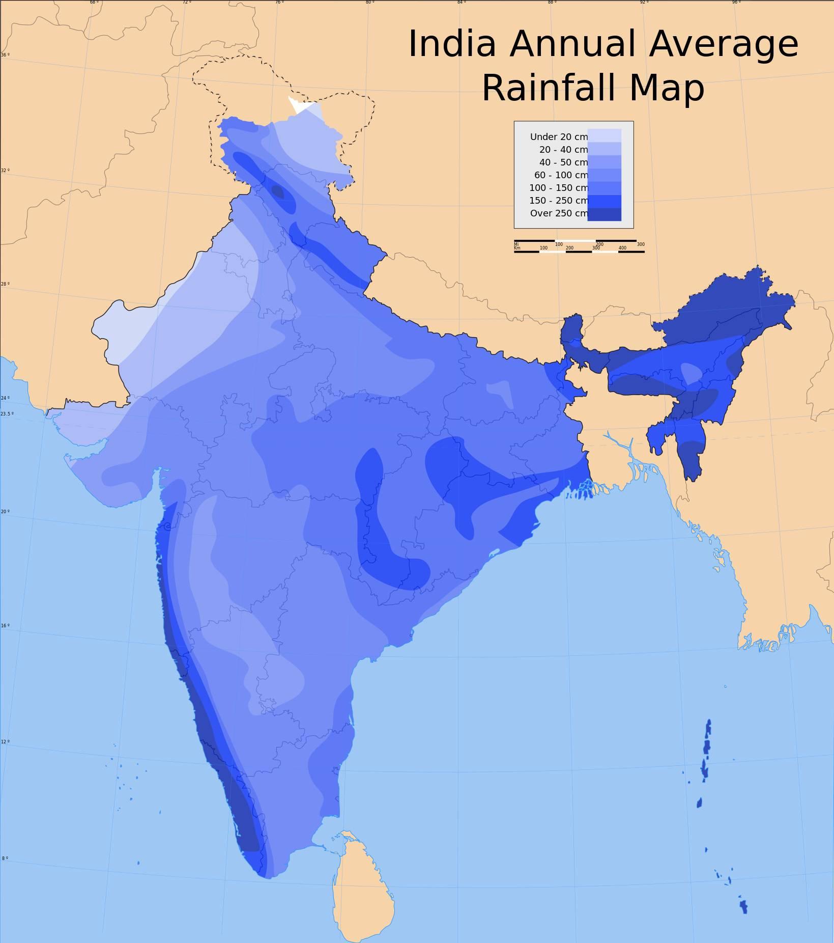 Carte des précipitations en Inde