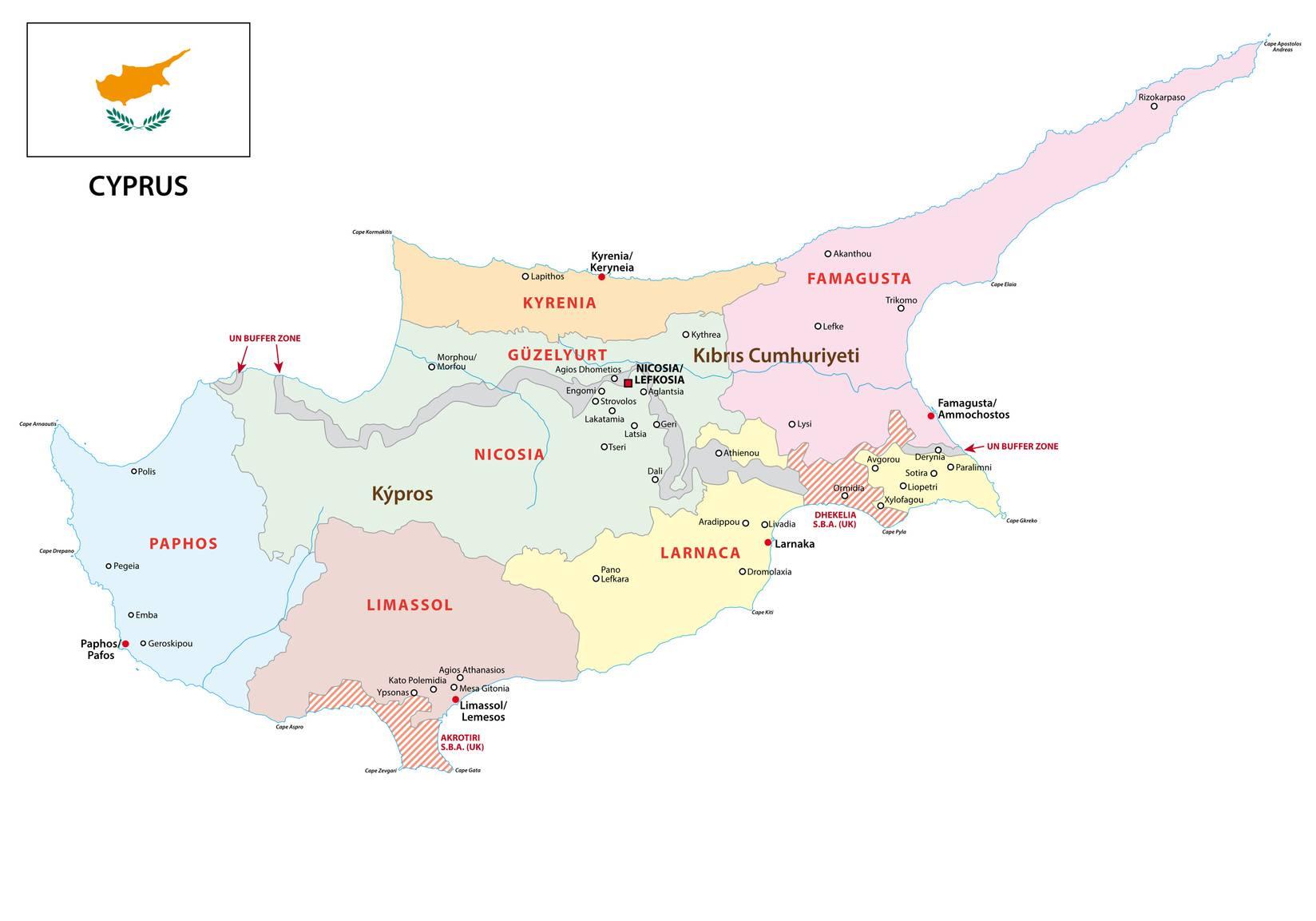 Carte des régions de Chypre