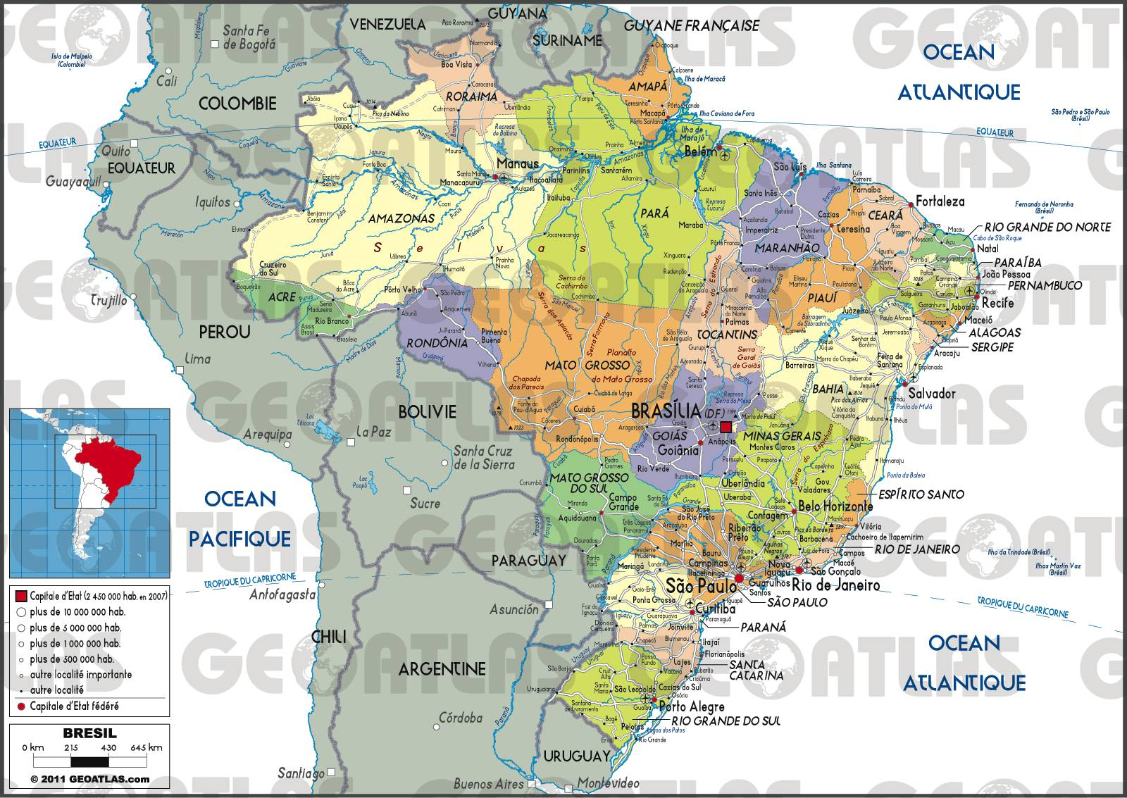 Carte Bresil Relief.Carte Du Bresil Plusieurs Cartes Du Pays En Amerique Du Sud