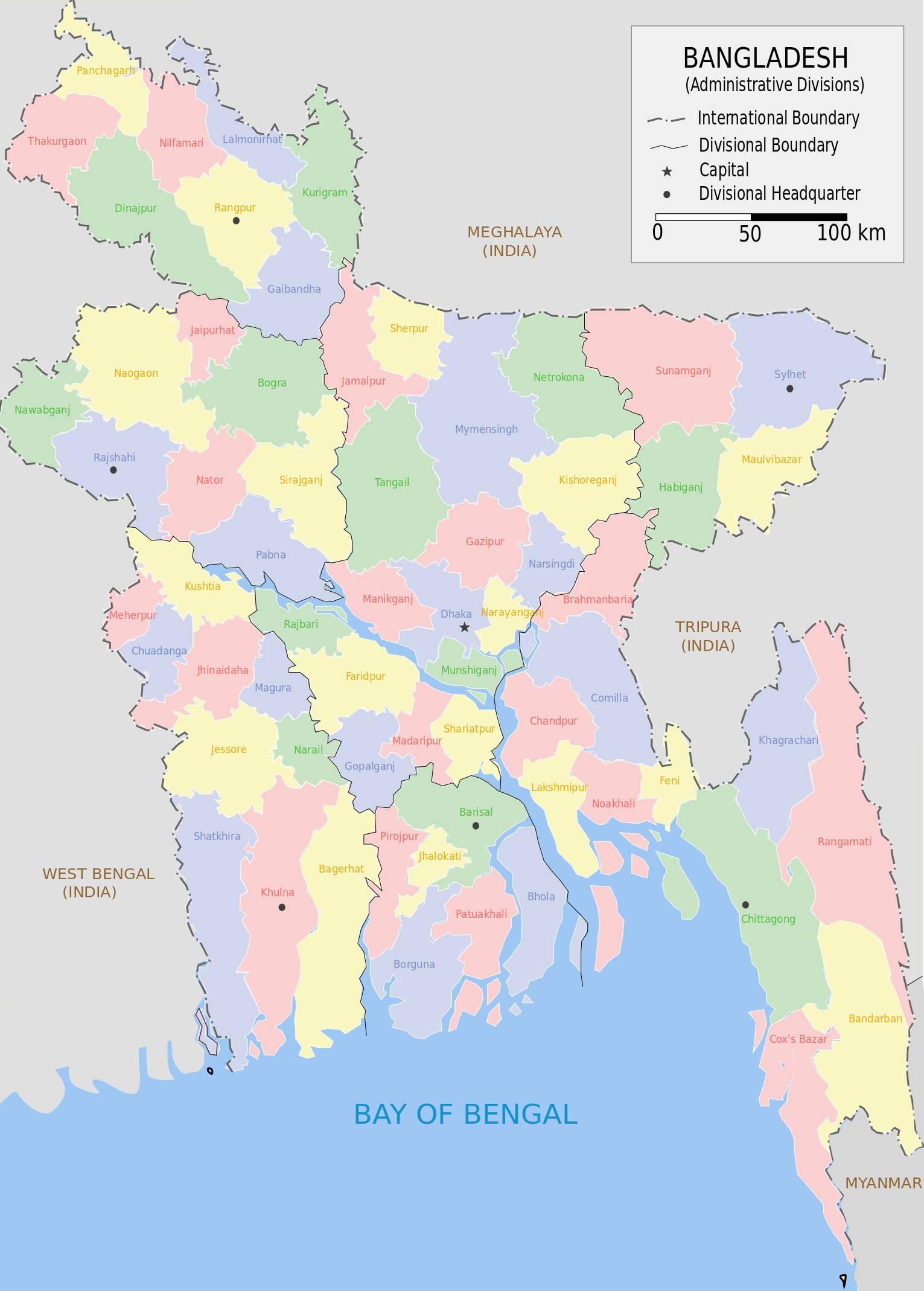 Carte des régions au Bangladesh