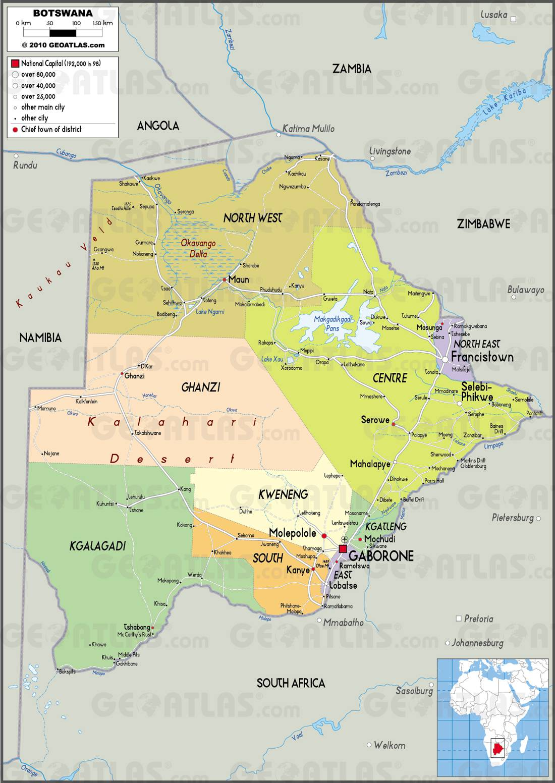 Carte des régions du Bostwana