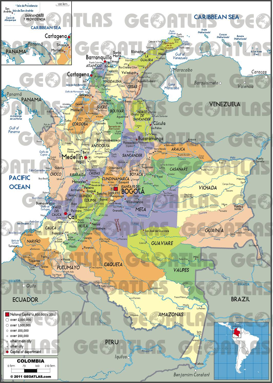 Carte des régions de la Colombie