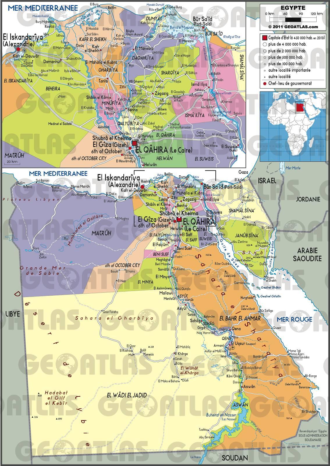 Carte des régions de l'Egypte