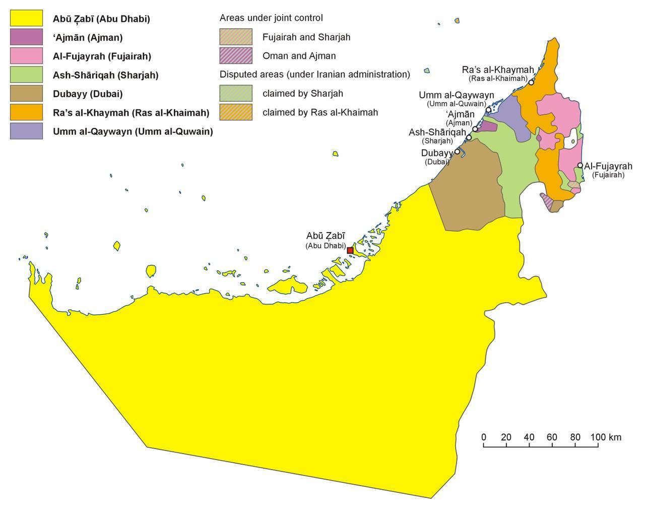 Carte des régions des Emirats arabes unis