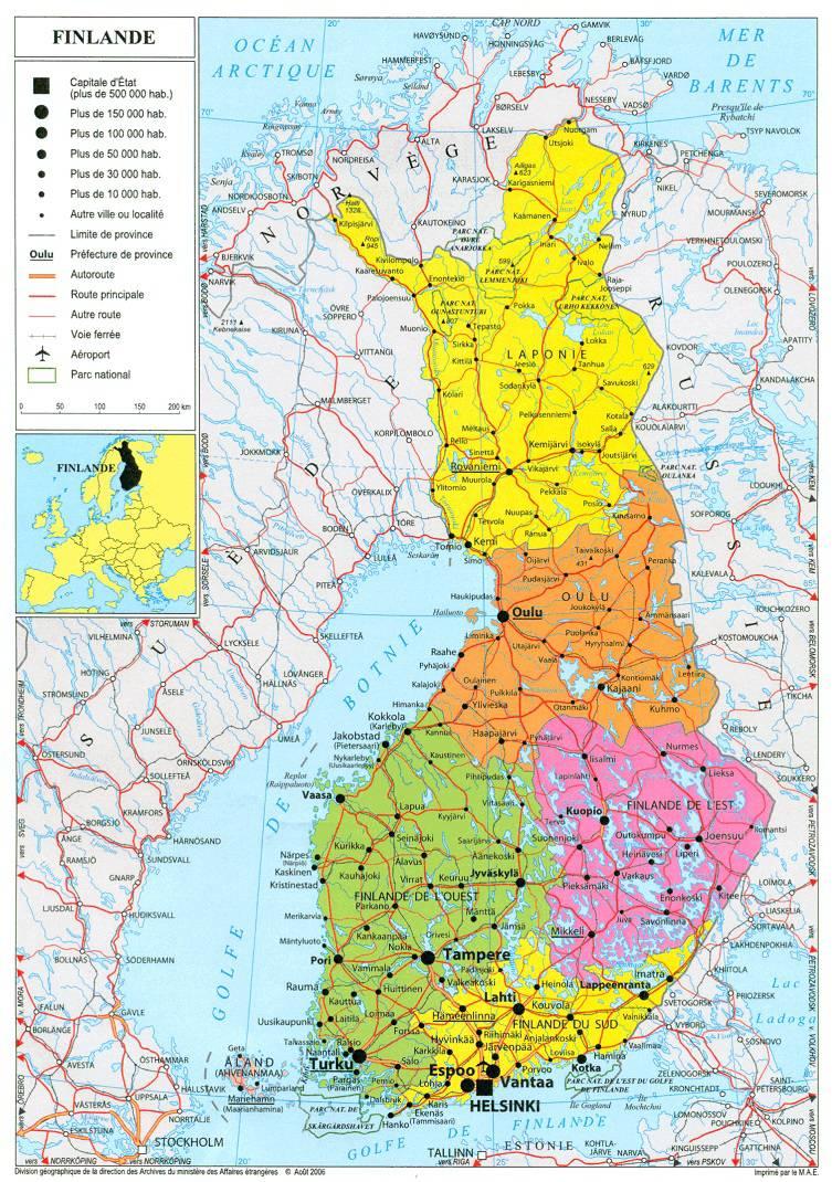 Très Carte de la Finlande - Plusieurs cartes du pays du nord de l'Europe MO84