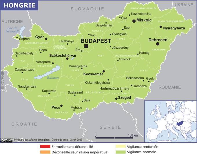 Carte des régions de la Hongrie