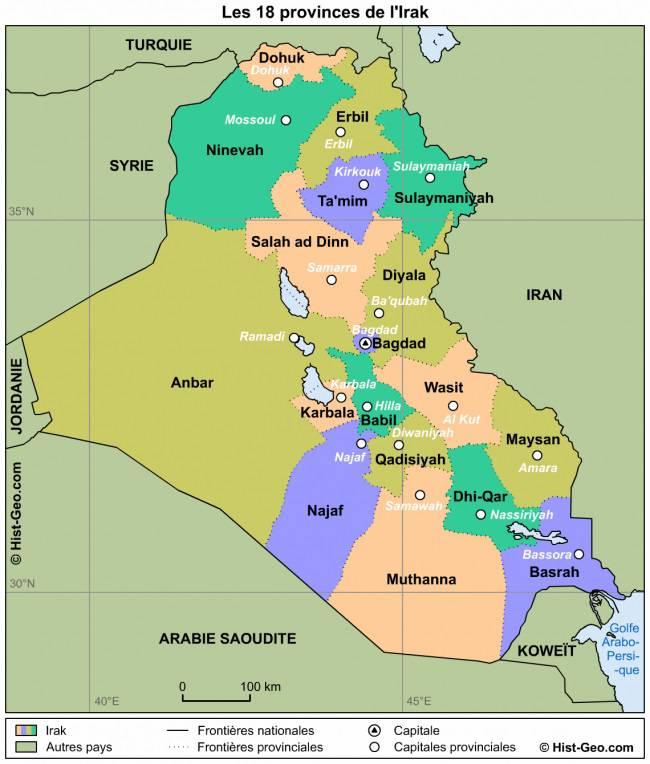 Carte des régions en Irak