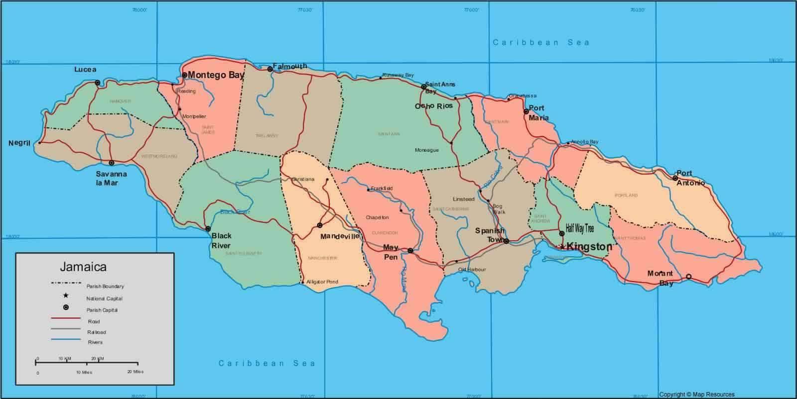 Carte des régions de la Jamaïque