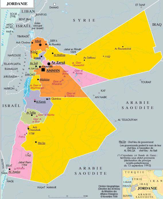 Carte des régions de la Jordanie