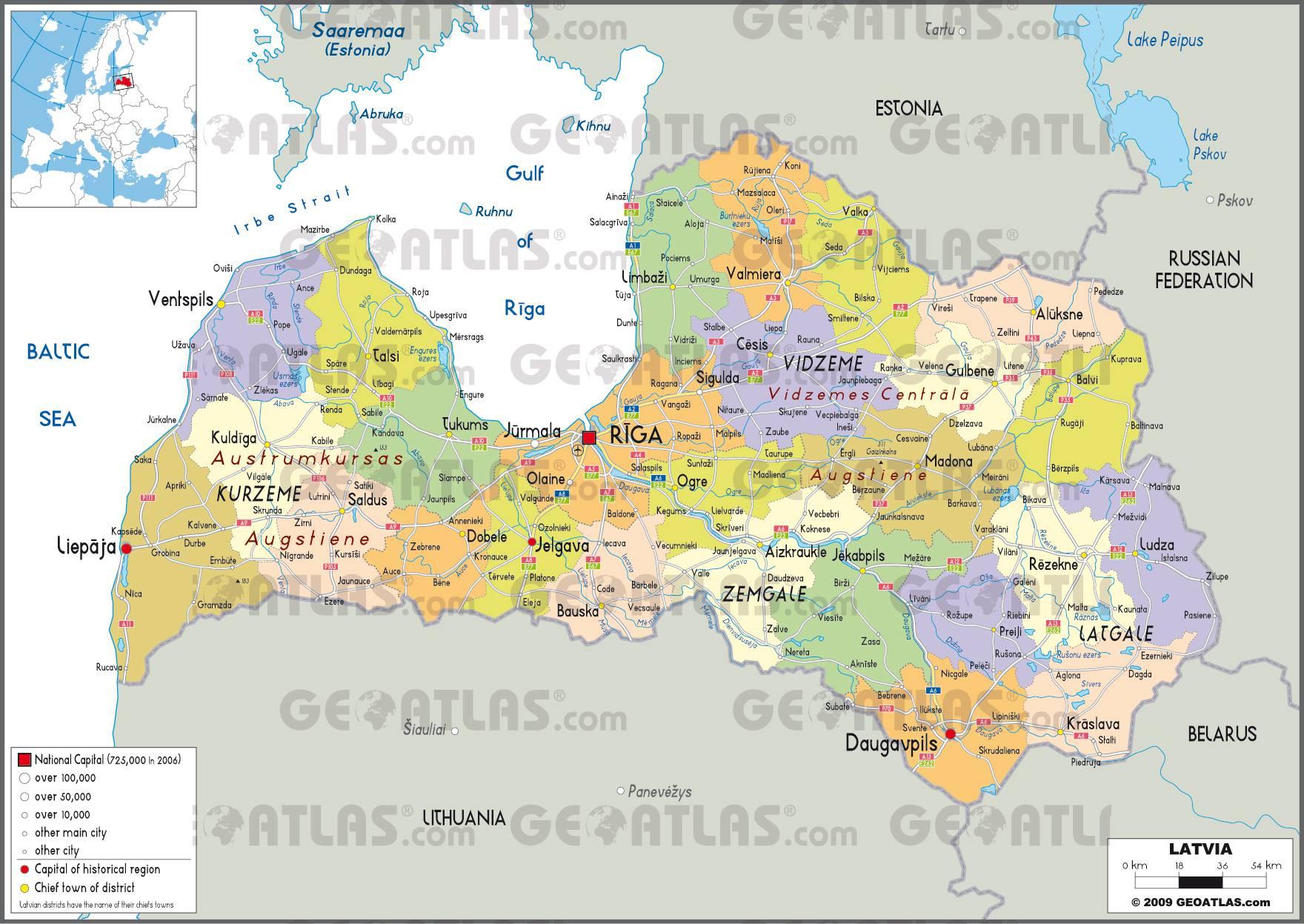 Carte des régions de la Lettonie