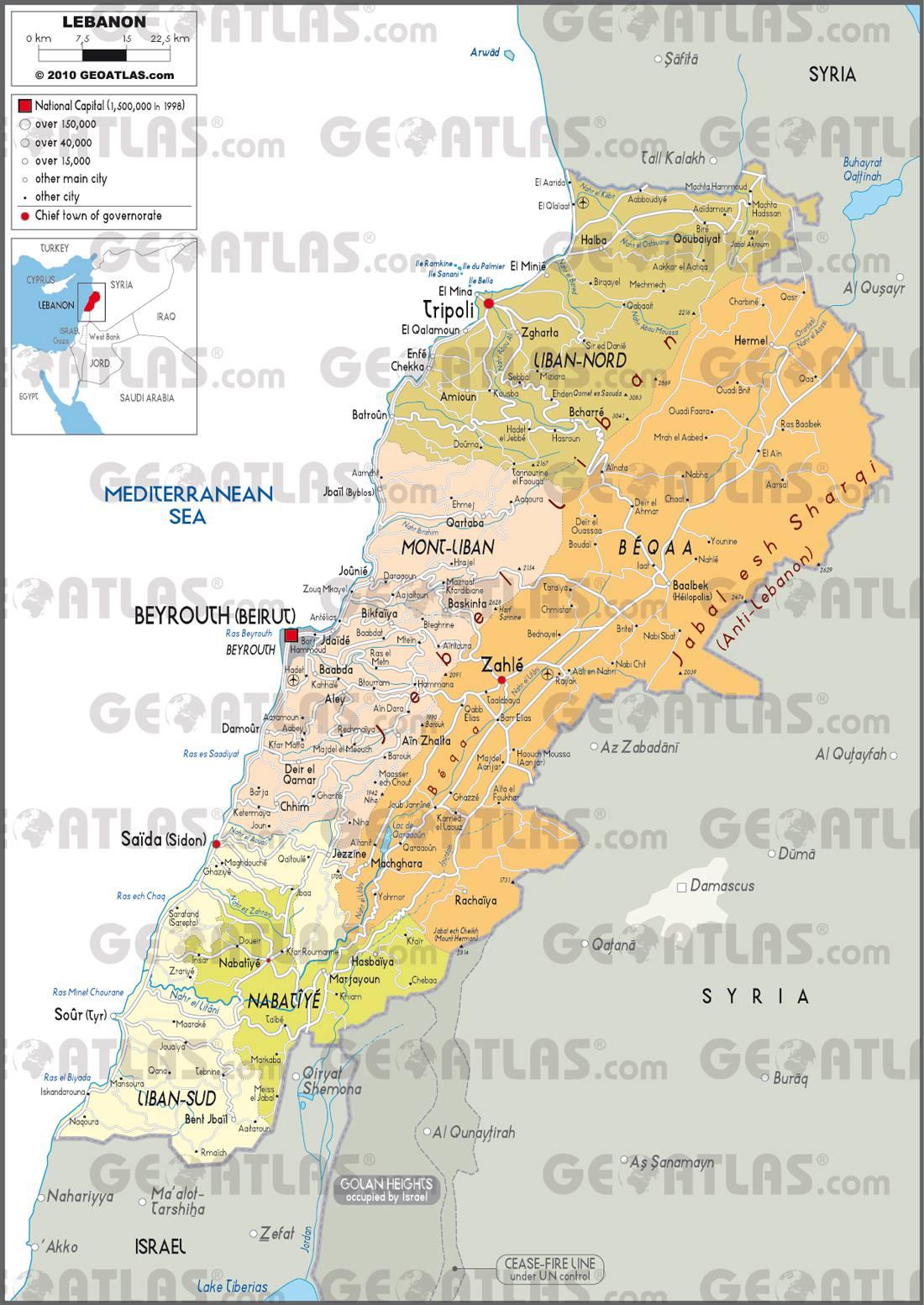 Carte des régions du Liban