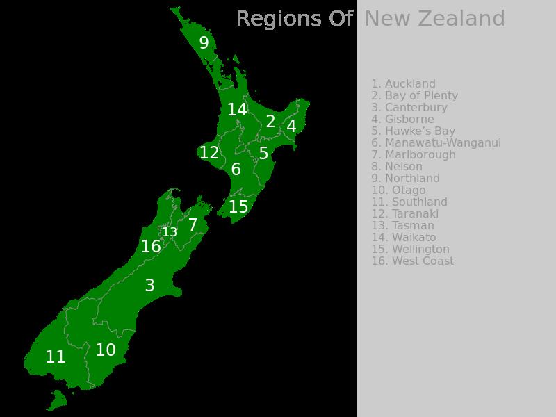 Carte des régions de la Nouvelle-Zélande