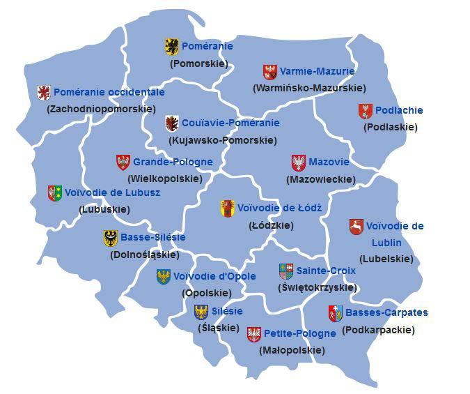 Carte des régions en Pologne