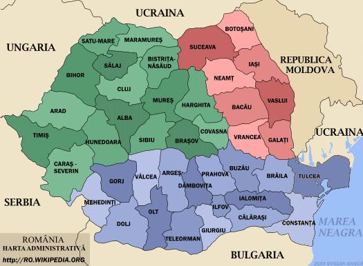 Carte des régions de Roumanie