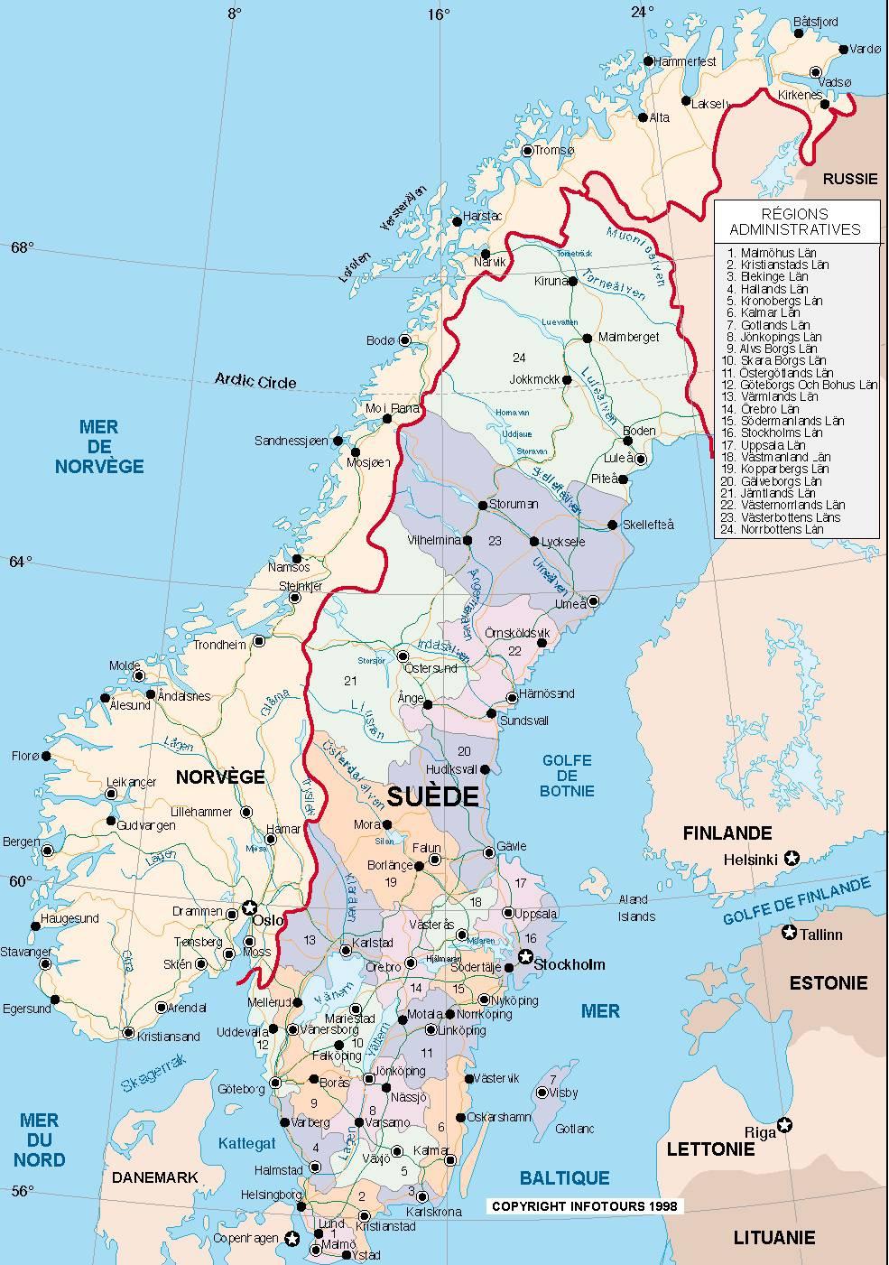 Carte des régions de la Suède