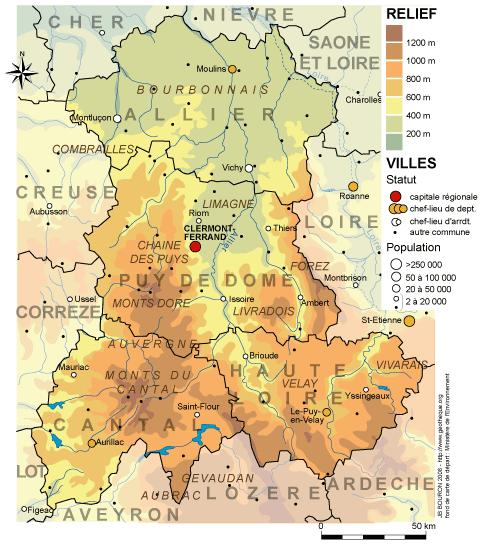 Carte du relief de l'Auvergne