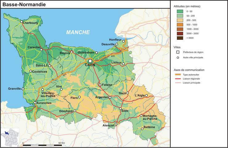 Carte du relief de la Basse-Normandie