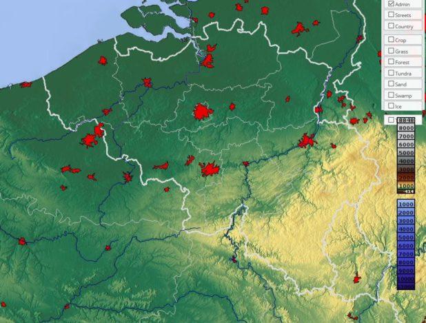 Carte du relief de la Belgique