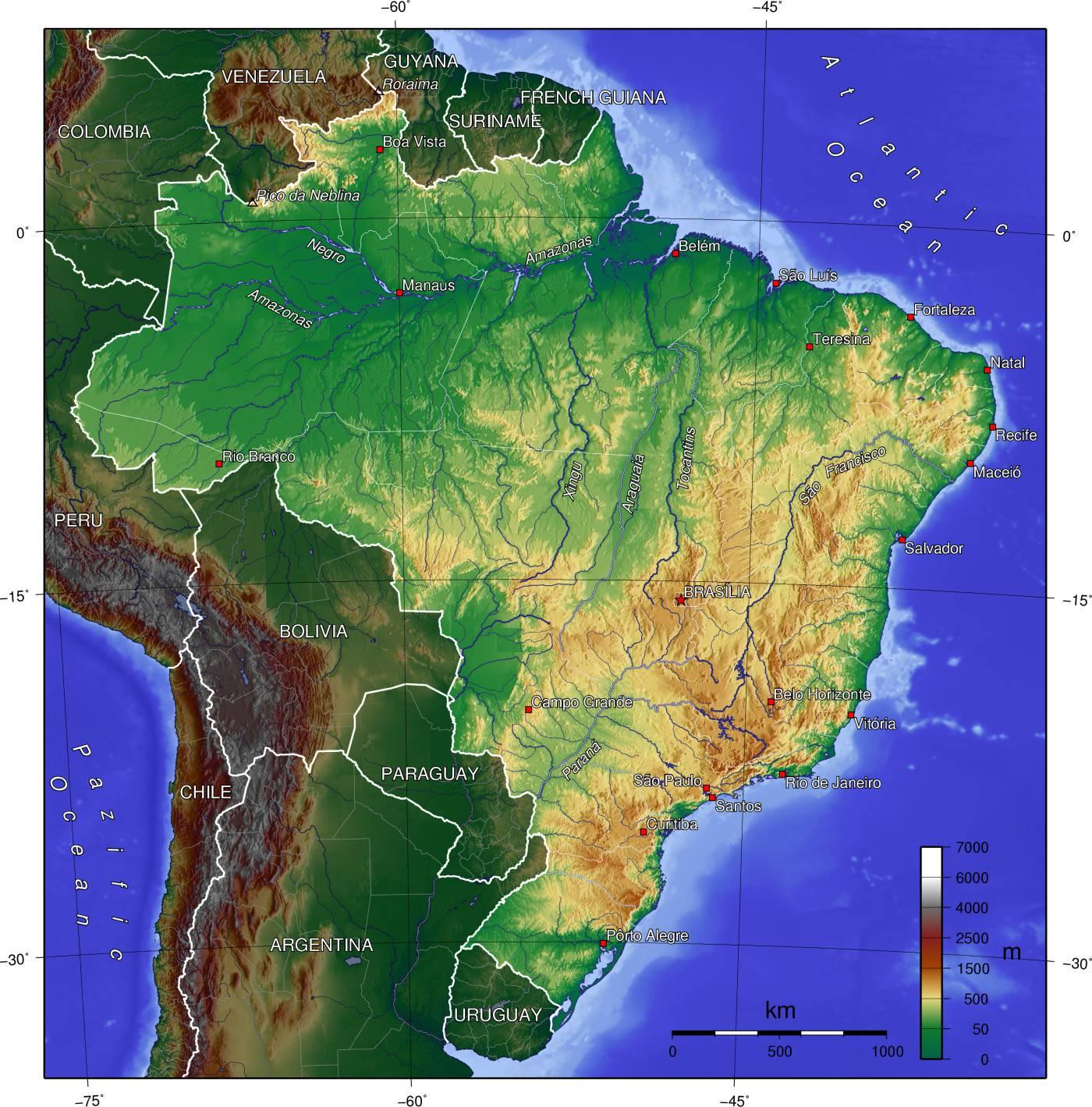 Carte du relief du Brésil