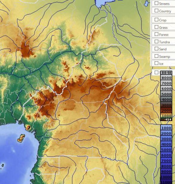Carte du relief du Cameroun