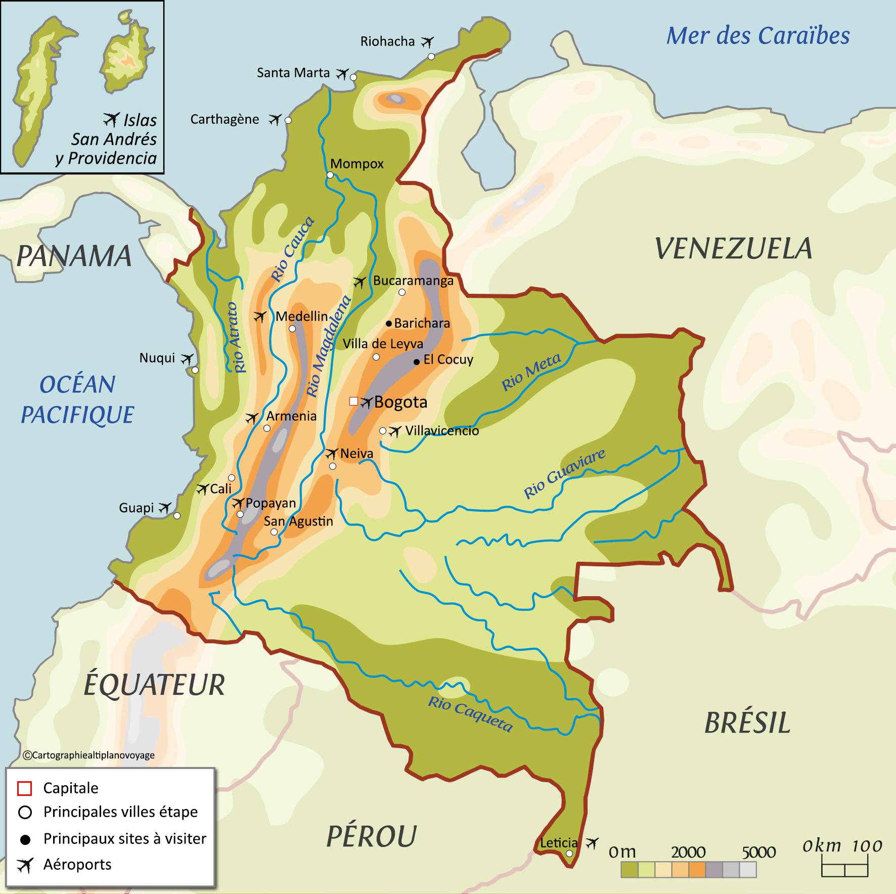 Carte des reliefs de la Colombie
