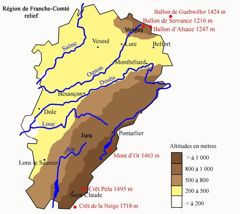 Carte du relief de la Franche-Comté
