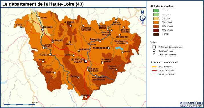 Carte du relief de la Haute-Loire