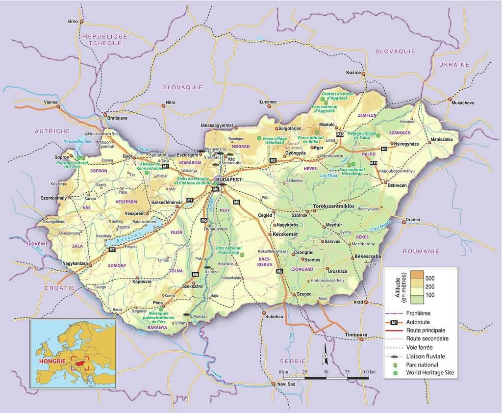 Carte du relief de la Hongrie