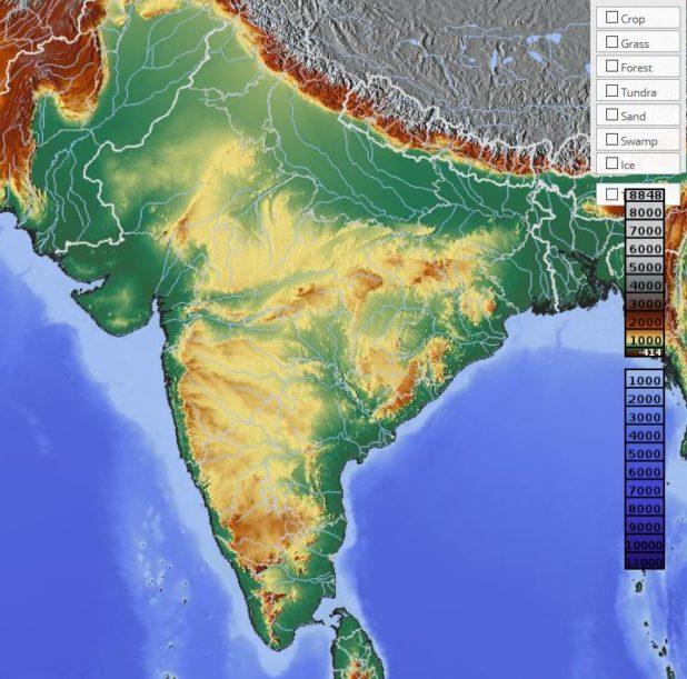 Carte du relief de l'Inde