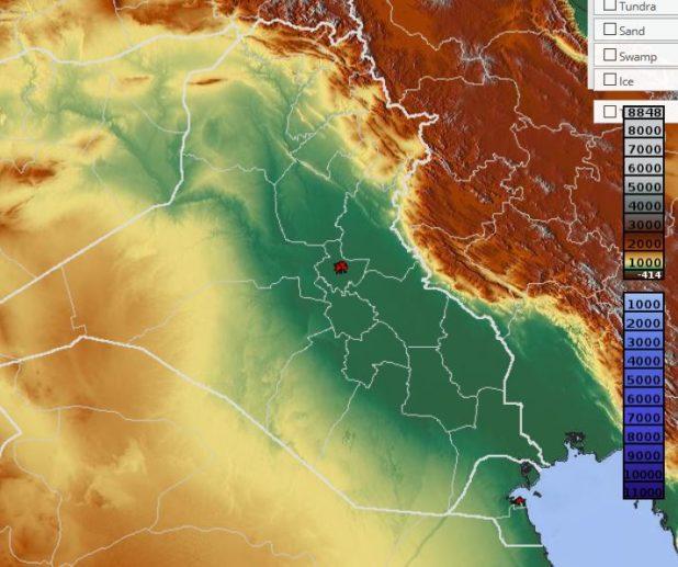 Carte du relief d'Irak