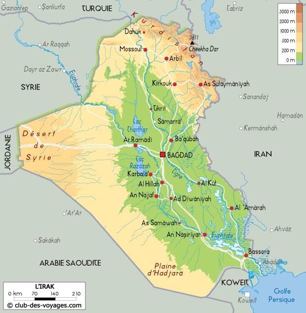 Carte du relief en Irak