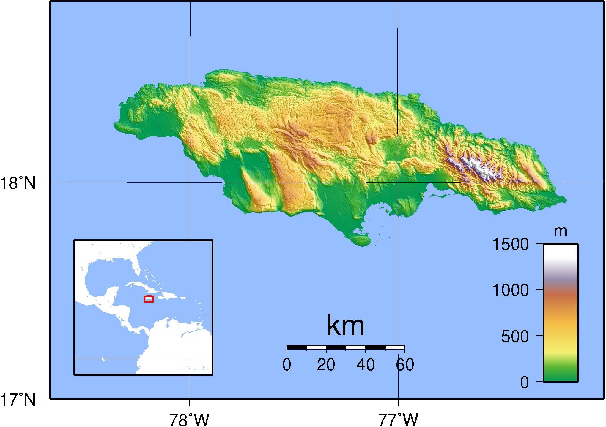 Carte des reliefs de la Jamaïque