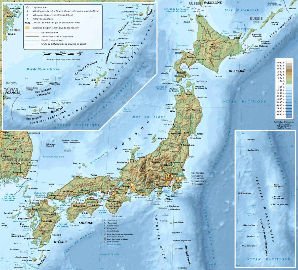 Carte du relief du Japon