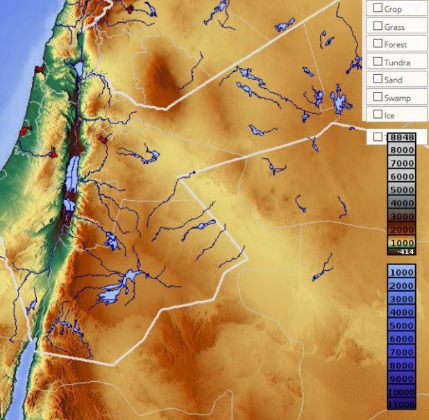Carte du relief de la Jordanie