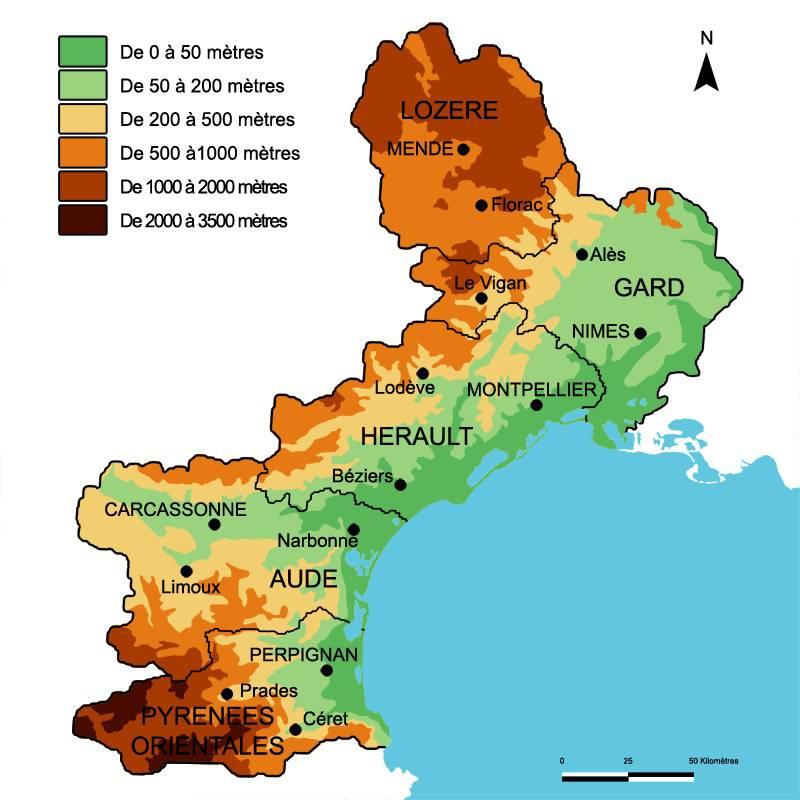 Carte du relief du Languedoc-Roussillon