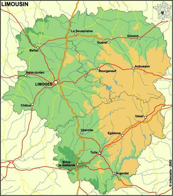 Carte relief du Limousin