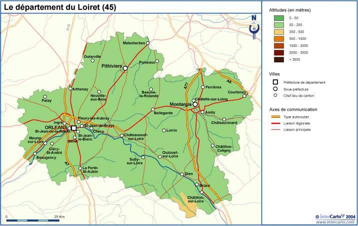 Carte du relief du Loiret