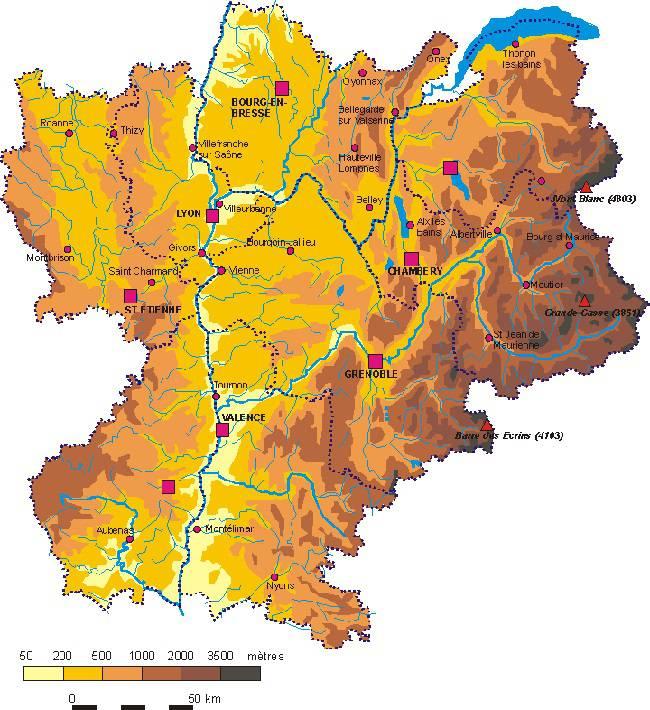 Carte du relief de Rhône-Alpes