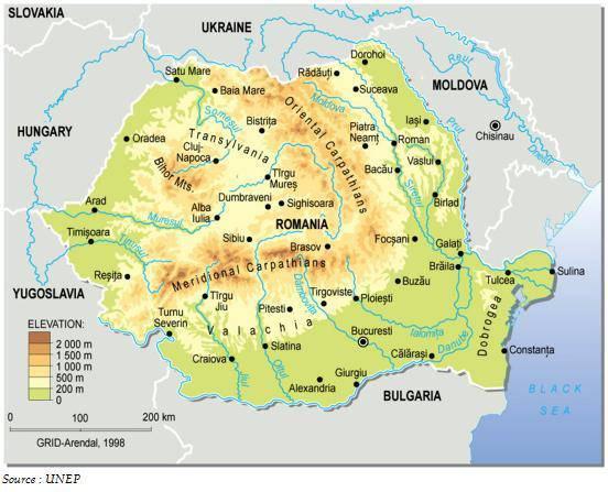 Carte du relief de la Roumanie