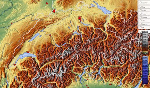 Carte du relief de la Suisse