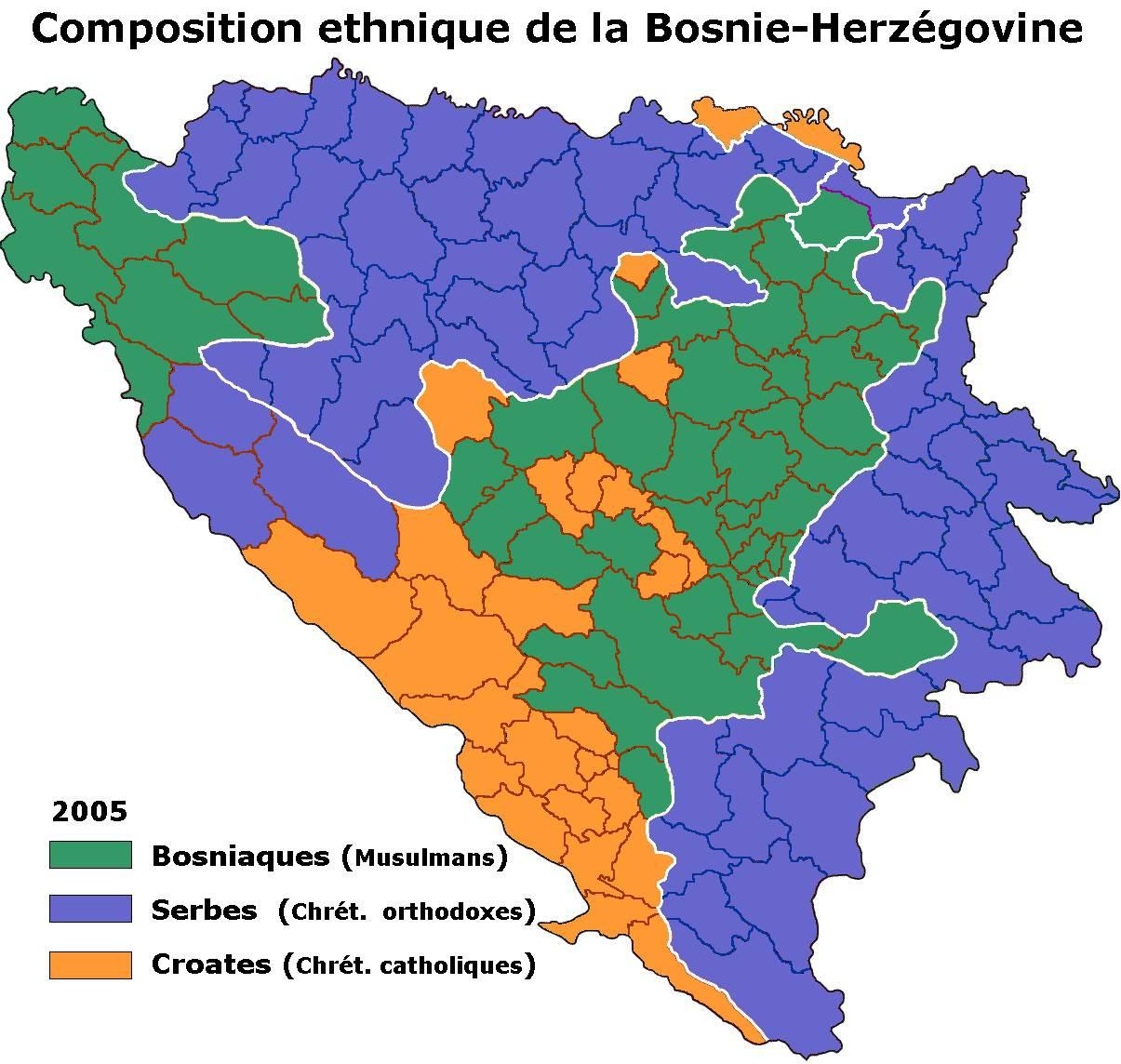 Carte des religions et ethnies de la Bosnie-Herzégovine