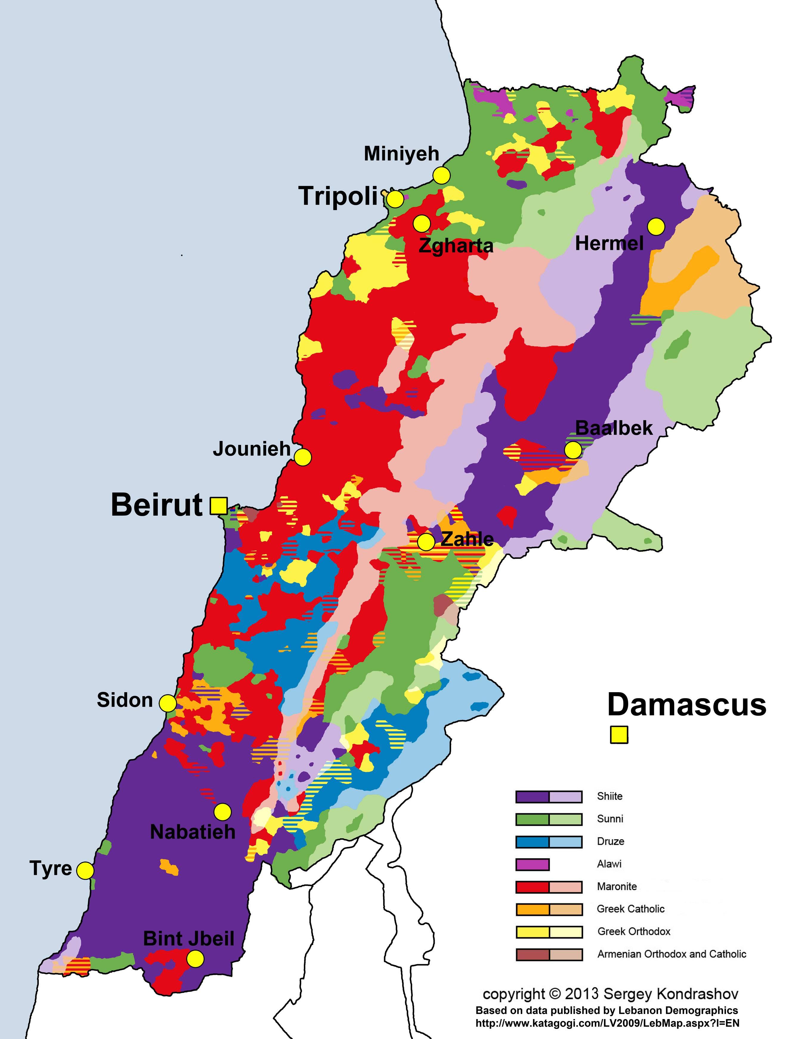 Carte des religions du Liban