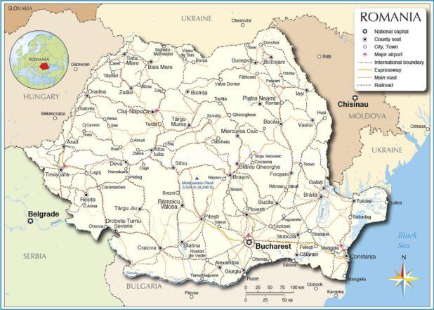 Carte de la Roumanie