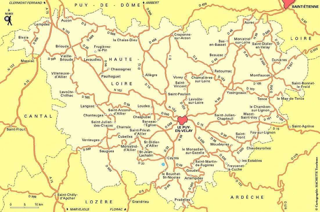 Carte des routes de la Haute-Loire