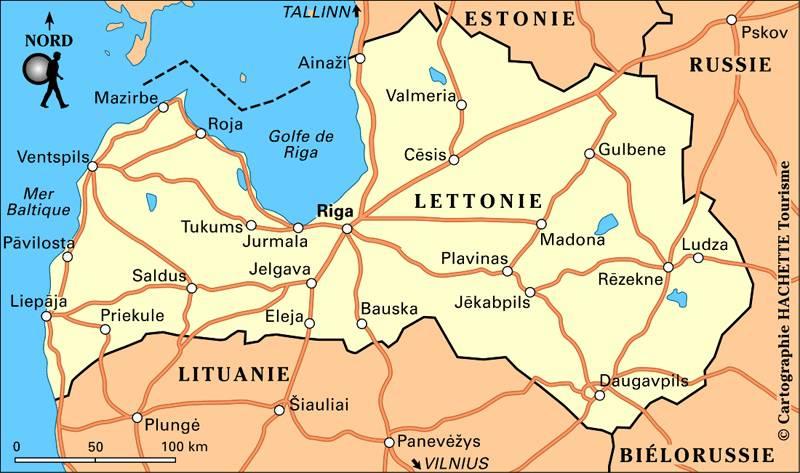 Carte des routes de la Lettonie