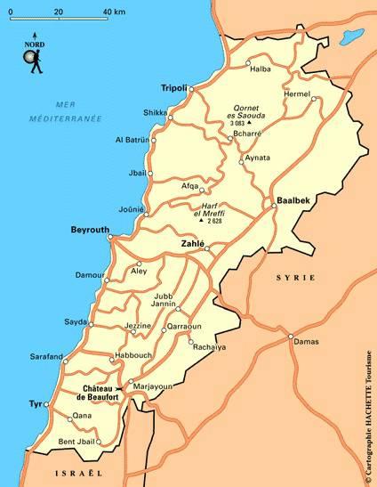Carte des routes du Liban