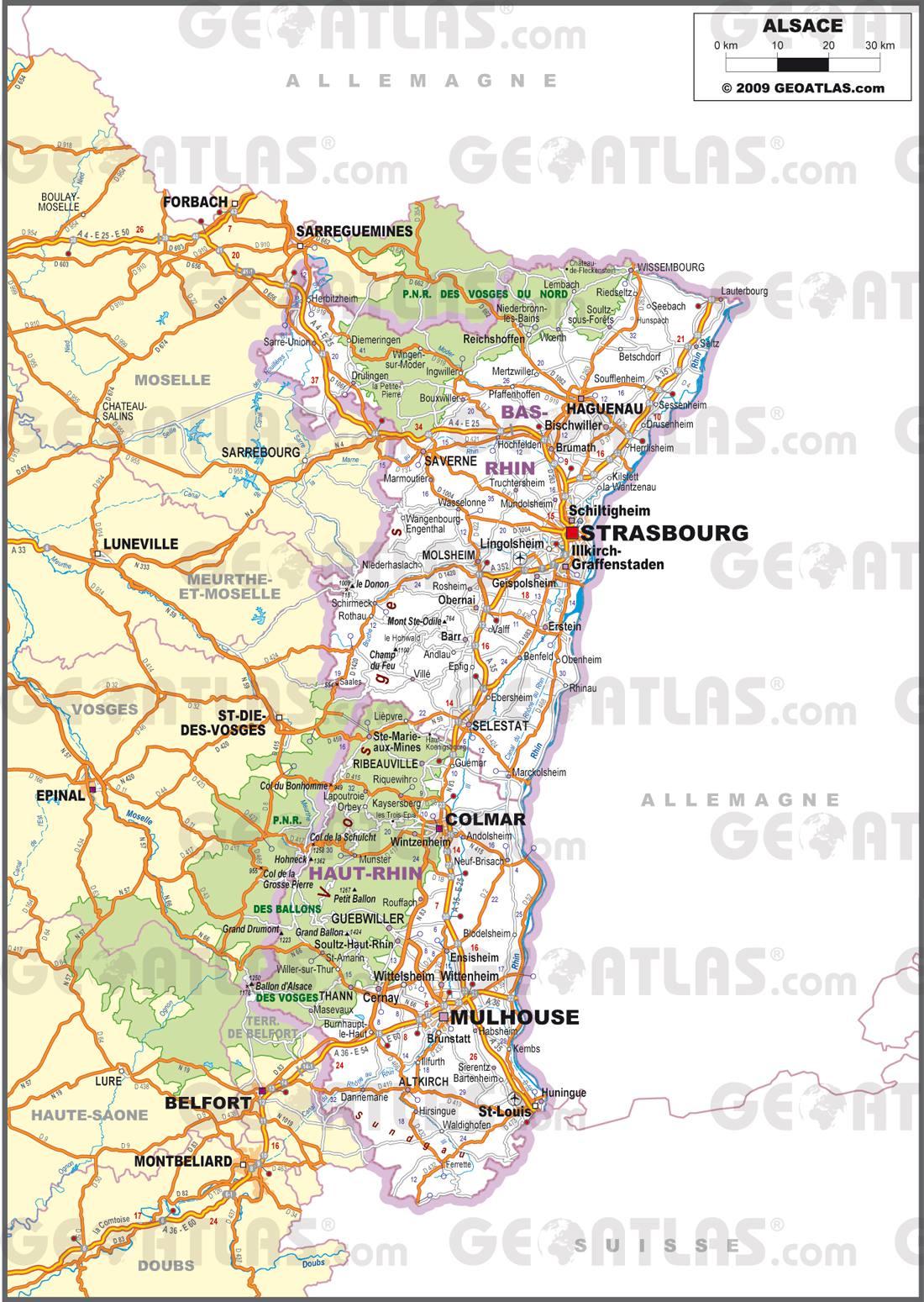 Carte routière de l'Alsace