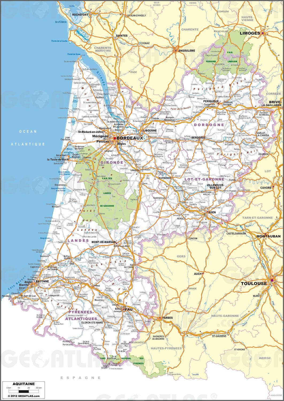 Carte routière de l'Aquitaine