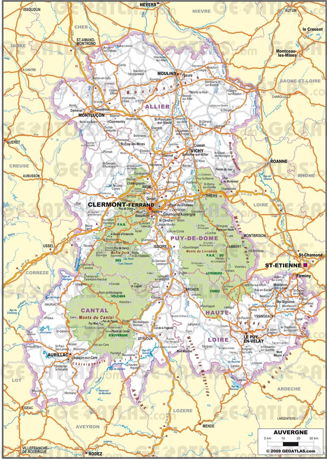 Carte routière de l'Auvergne