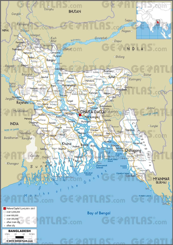 Carte routière du Bangladesh